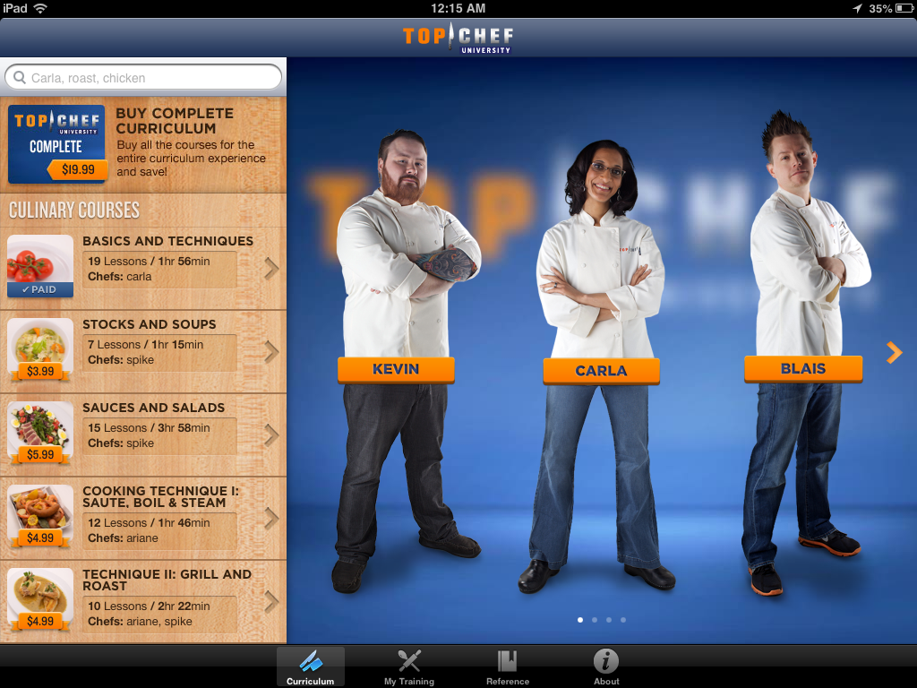 Top Chef U App Review, from a 13 part series on iPad apps by GagenGirls.com