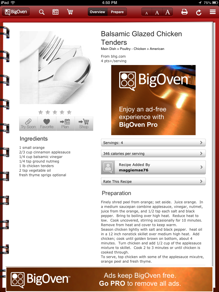 BigOven App Review, from a 13 part series on iPad apps by GagenGirls.com