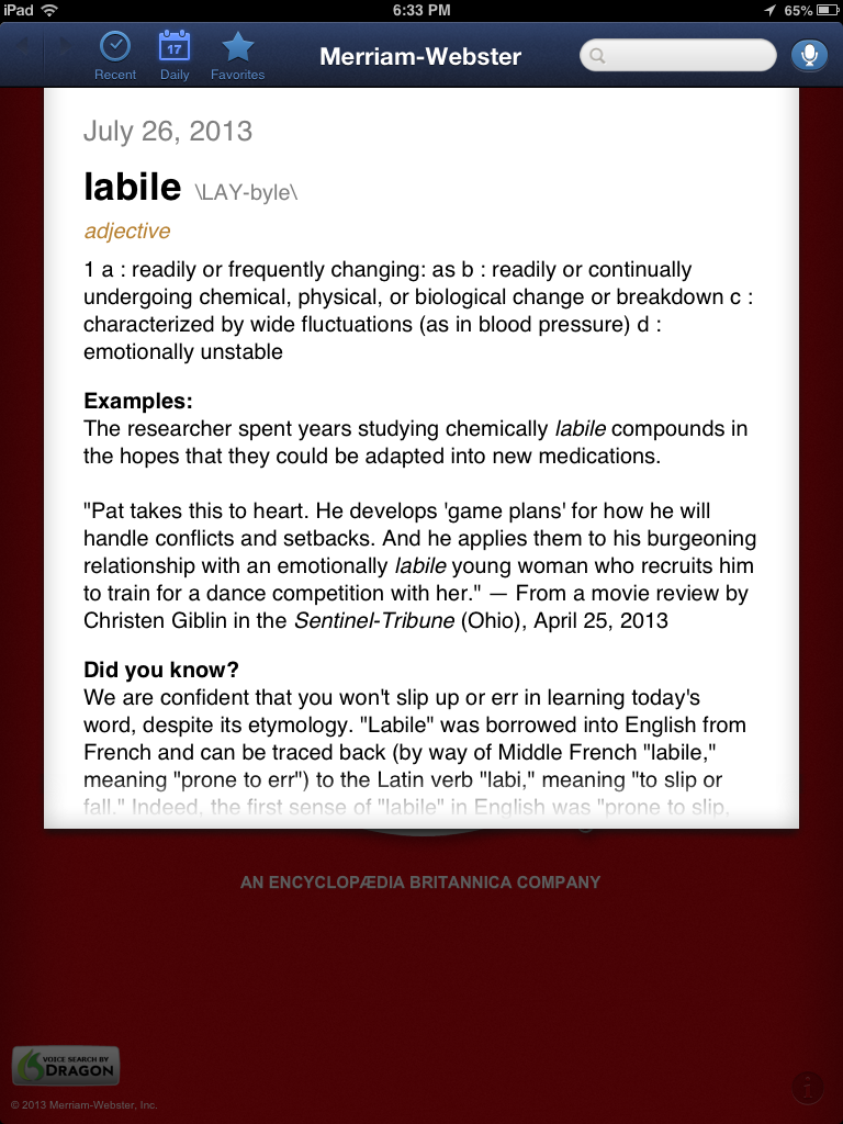 Merriam-Webster Dictionary App Review, from a 13 part series on iPad apps by GagenGirls.com