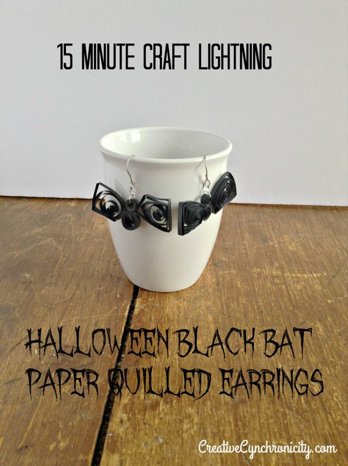 15 Minute Craft Lightning: Halloween Black Bat Paper Quilled Earrings