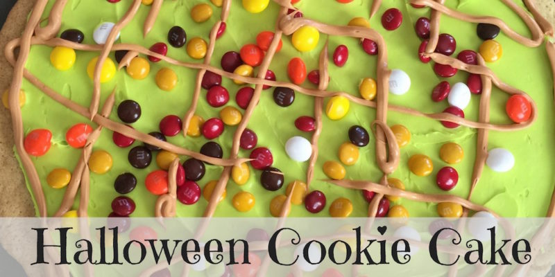 This Halloween Cookie Cake is a great way to use up leftover Halloween candy. Check out the rest of the #12DaysOf Halloween @ GagenGirls.com for more crafts and recipes.