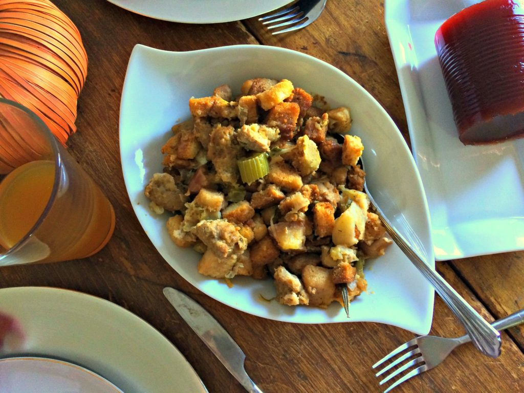 Sausage & Apple Stuffing - a moist and flavourful addition to any holiday meal AND it can be made in the slow cooker!