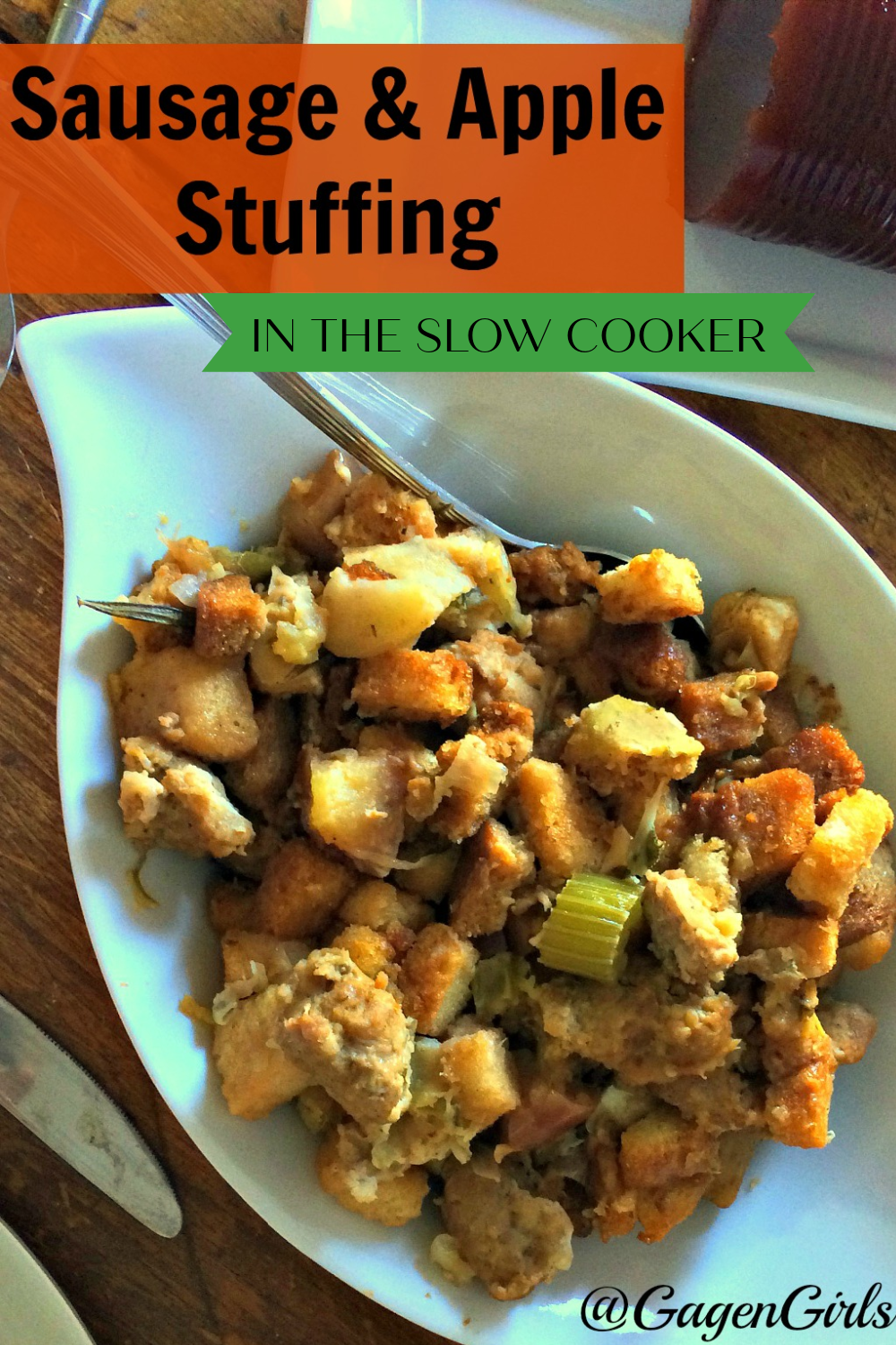 Sausage & Apple Stuffing in the Slow Cooker