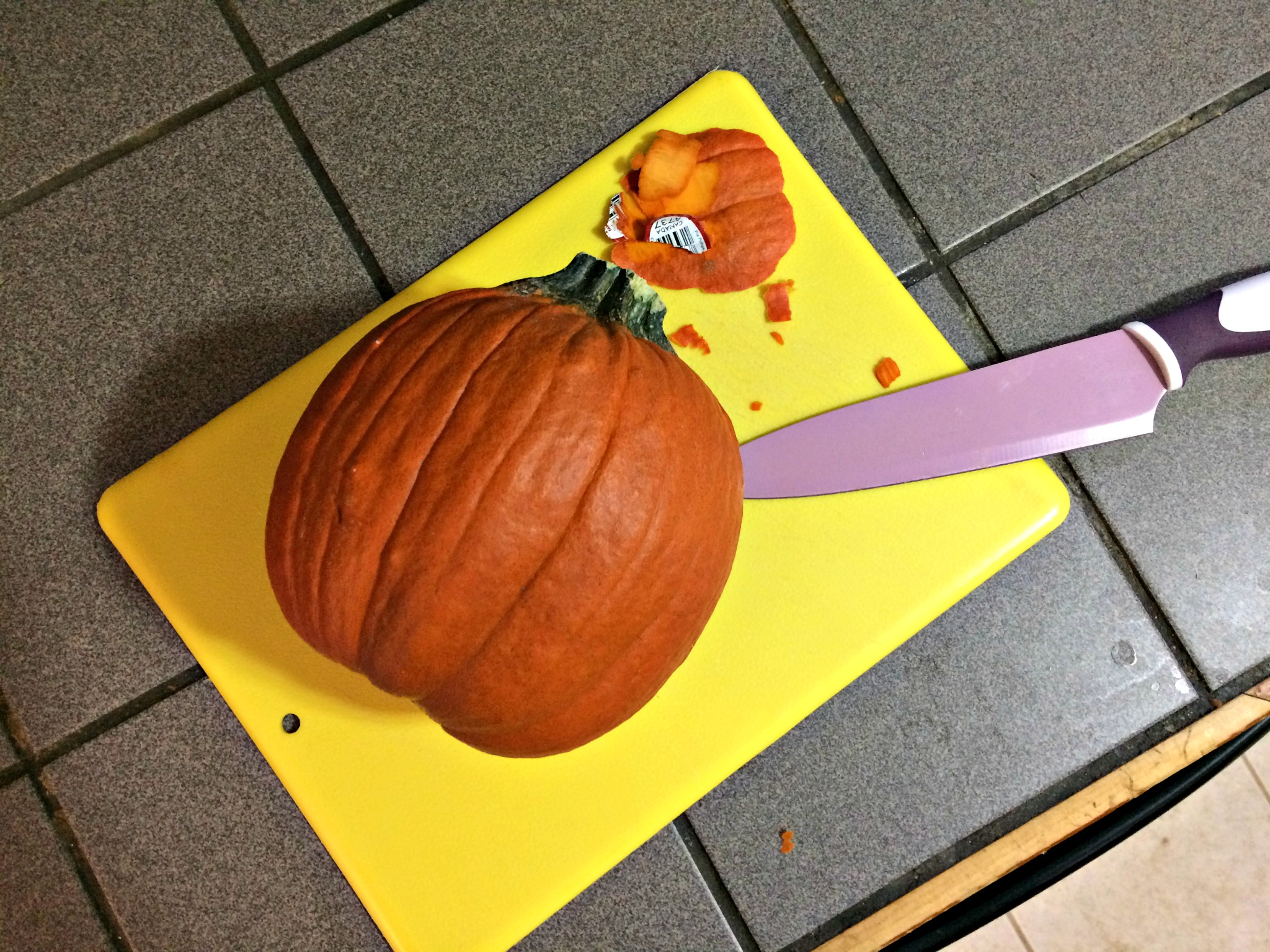 Pro tip: Slice some skin off your pumpkin so it lies flat.