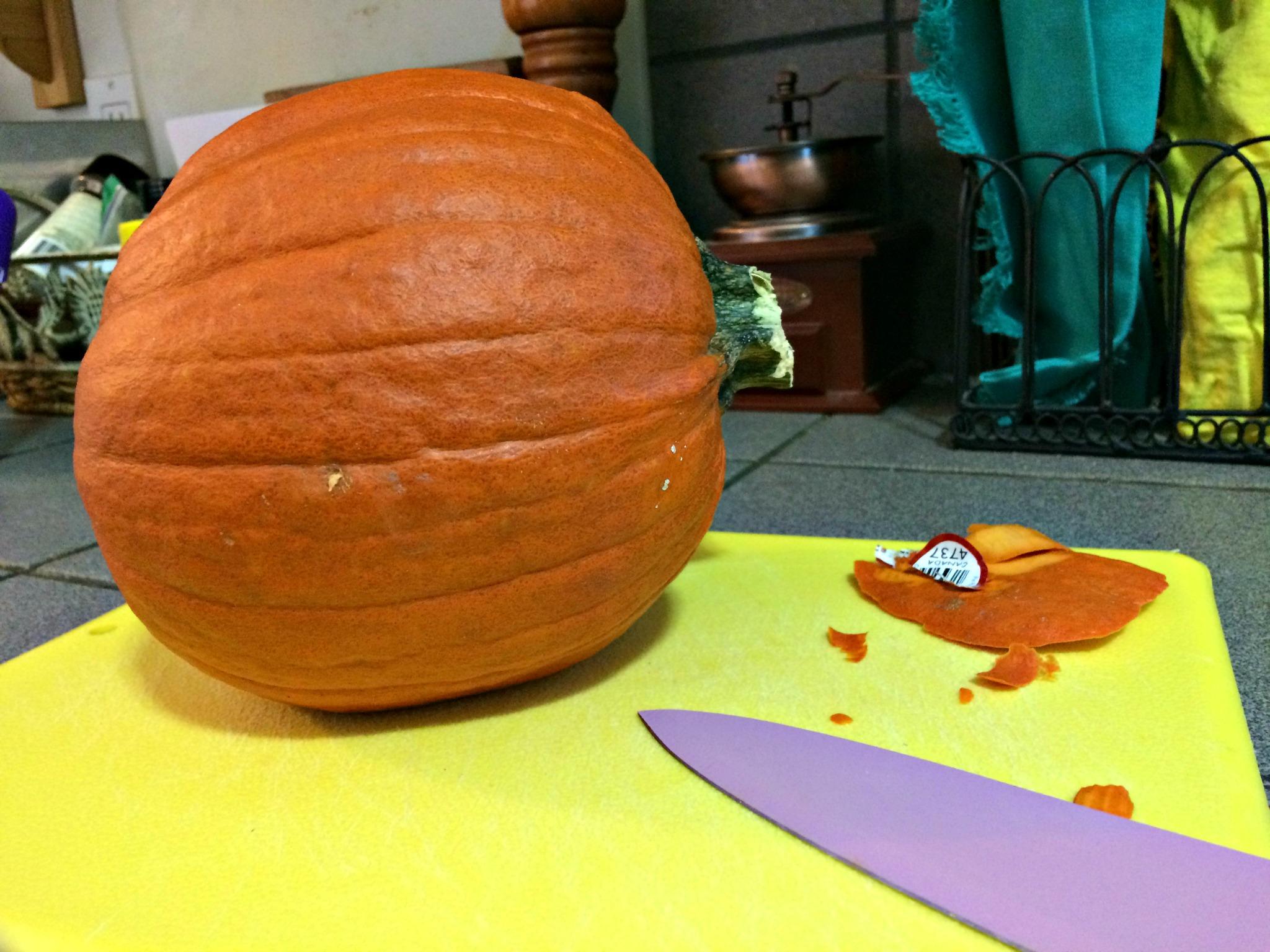 Pro tip: Slice some skin off your pumpkin so it lies flat. Making pumpkin puree become a breeze!