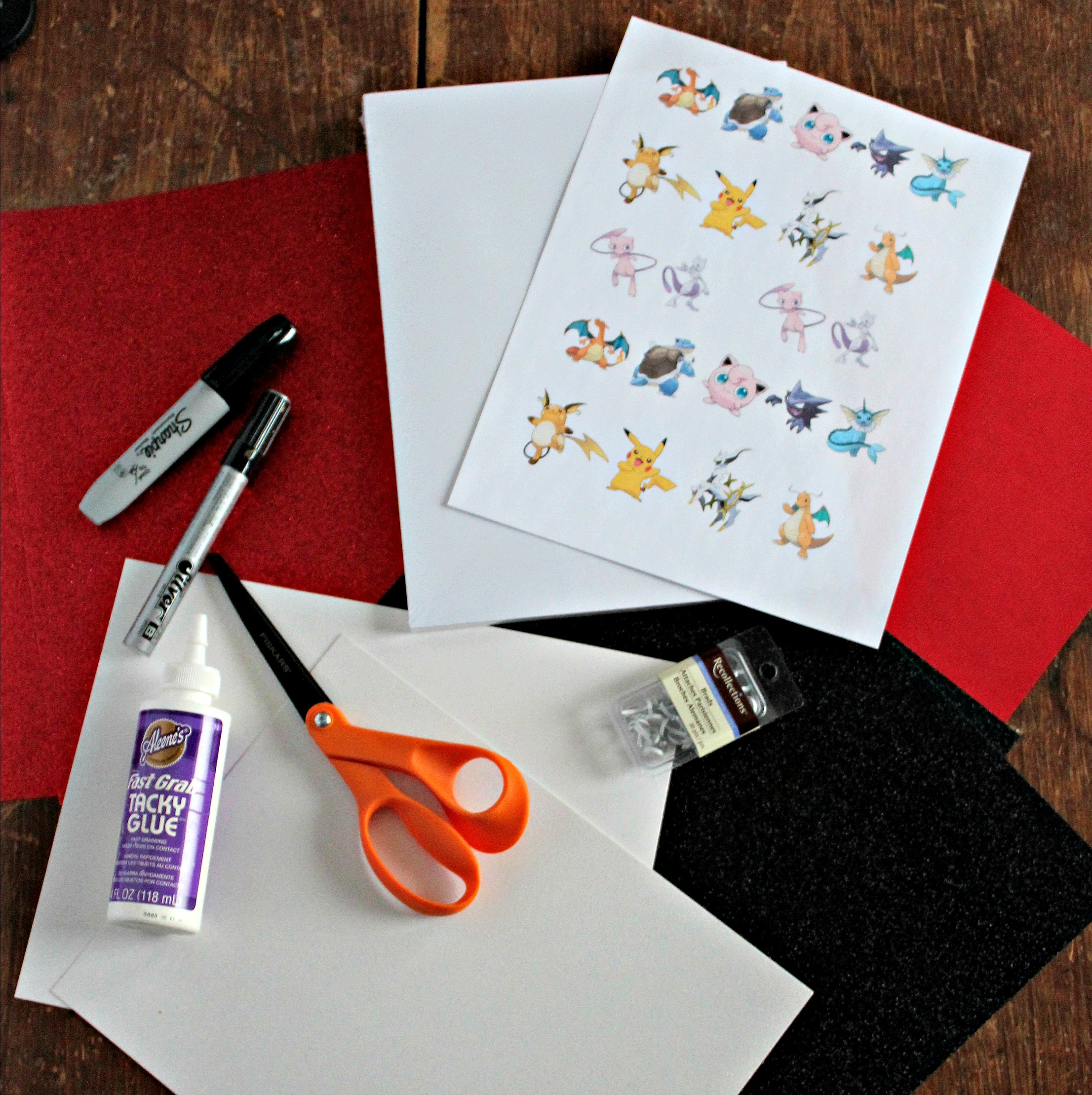 These supplies can come together to make an adorable Pokémon Valentine's Day Card!