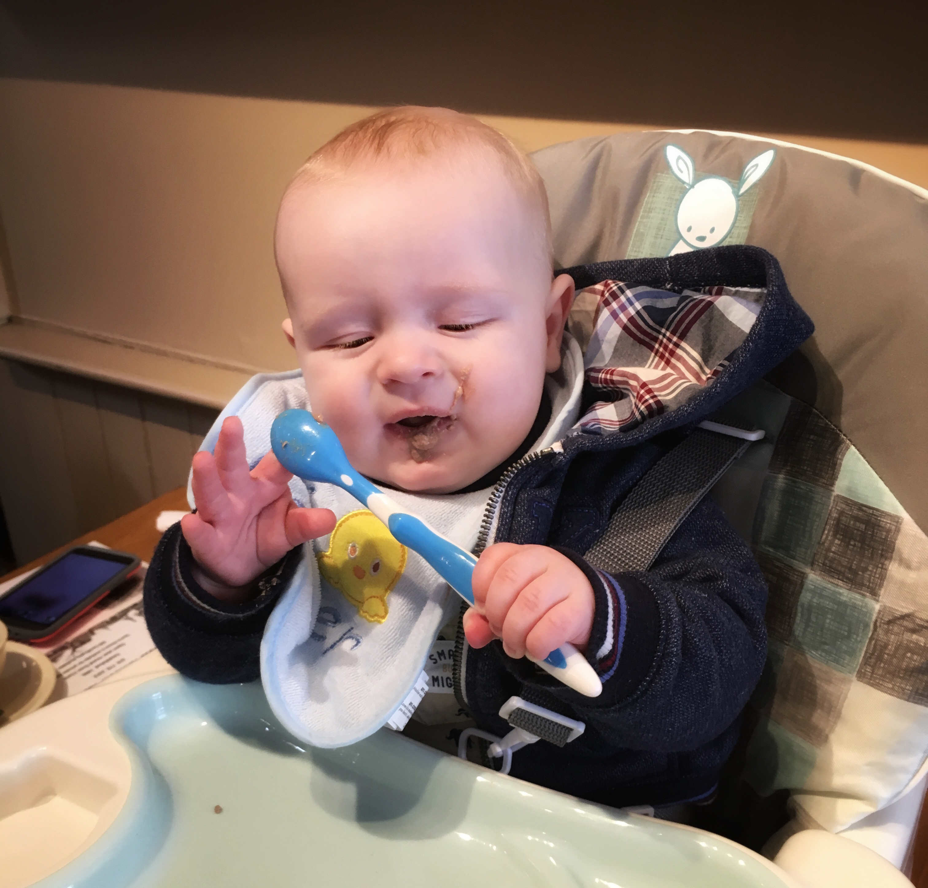 If he keeps making faces like this about beef liver, he might have to have more infant cereals.