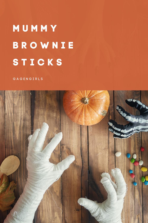 Mummy Brownie Sticks